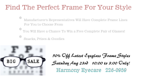 Fort Collins Eyeglass Sale August 23rd Graphic